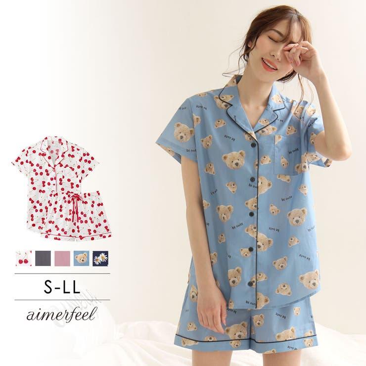 綿100%半袖シャツパジャマ上下セット | 詳細画像