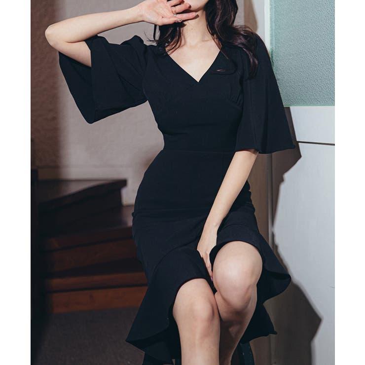 2021新作 きれいめVネックウエスト痩せみせタイトワンピース 韓国ファッション | aimoha  | 詳細画像1