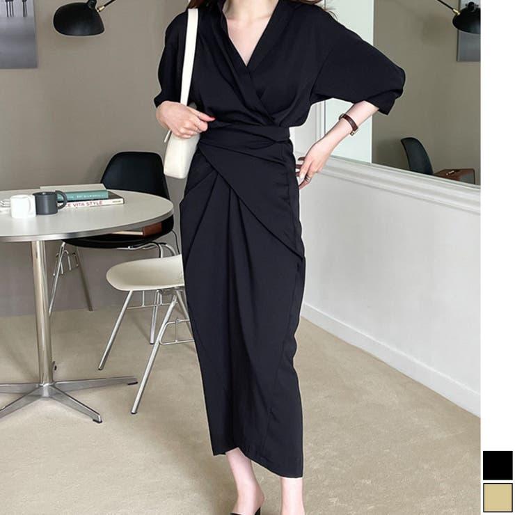 きれいめドレープタイトシャツワンピース 韓国ファッション ハイウエスト | aimoha  | 詳細画像1