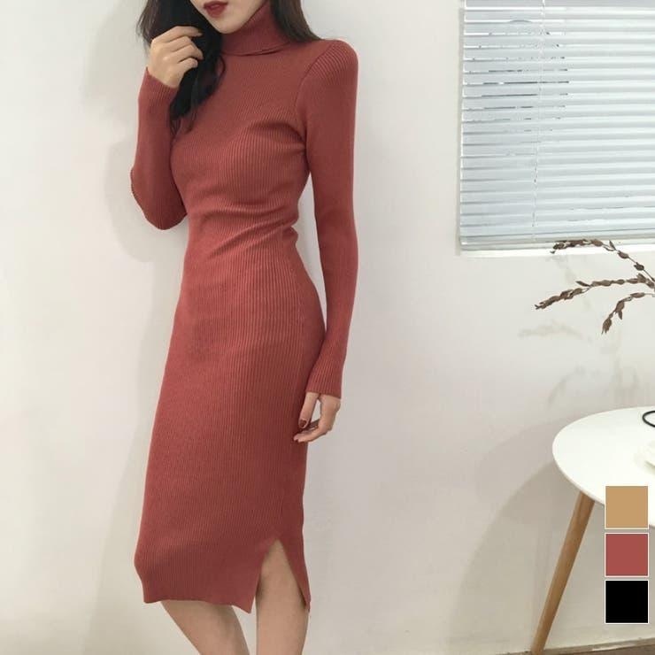 SHOPLIST先行 フィットニットワンピース 韓国ファッション   aimoha    詳細画像1