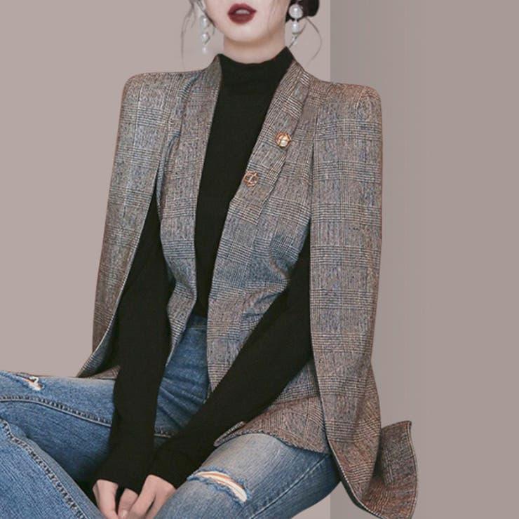 ケープ風ジャケットコート 韓国ファッション ハイウエスト   aimoha    詳細画像1
