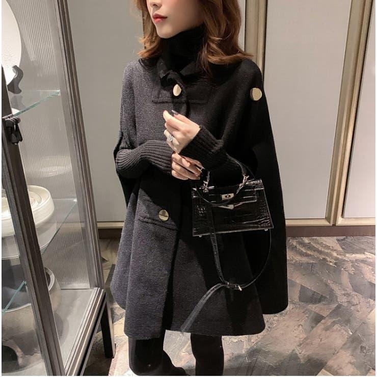 2021年新作 ゴールドボタン温かウールポンチョコート 韓国ファッション   aimoha    詳細画像1