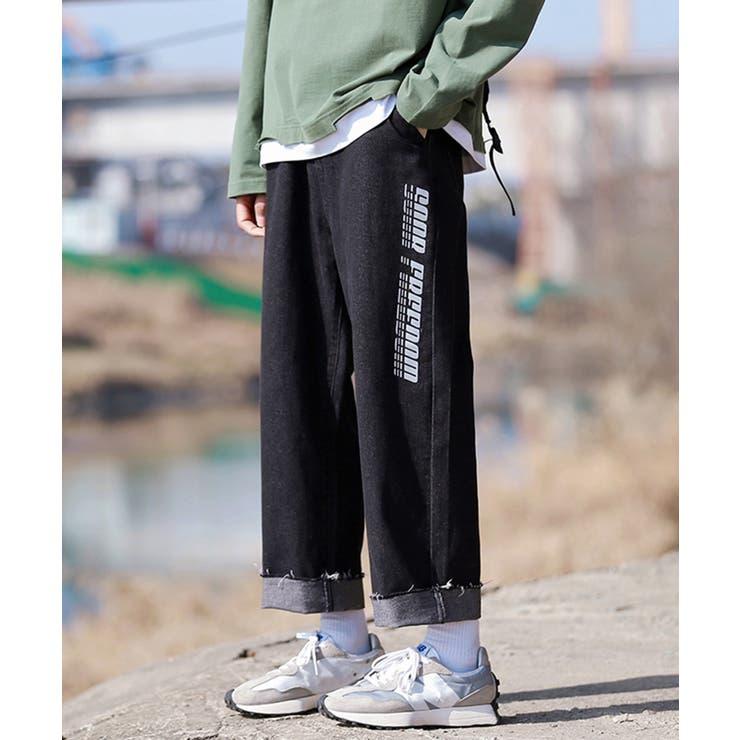 2021新作サイド反射プリント入りデニムワイドパンツ ジョガーパンツ 韓国   HOOK   詳細画像1