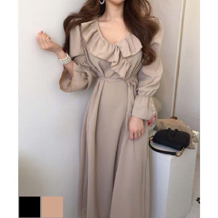 フレンチレトロフレアワンピース 韓国ファッション ハイウエスト   aimoha    詳細画像1