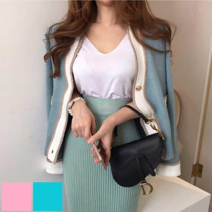 バイカラーきれいめニットカーディガン 韓国ファッション ワンピース | aimoha  | 詳細画像1