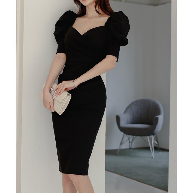 パワショルハートネックタイトワンピース 韓国ファッション ハイウエスト   aimoha    詳細画像1
