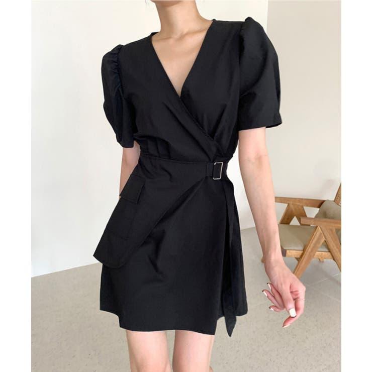 大人きれいめVネックミニワンピース 韓国ファッション ハイウエスト | aimoha  | 詳細画像1