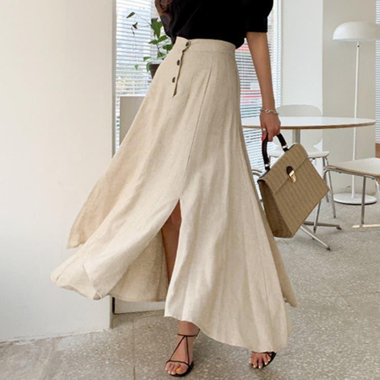 麻のロングマーメイドスカート 韓国ファッション ハイウエスト   aimoha    詳細画像1