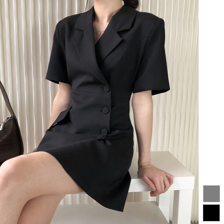 2021新作 デザインジャケット襟ワンピース 韓国ファッション   aimoha    詳細画像1