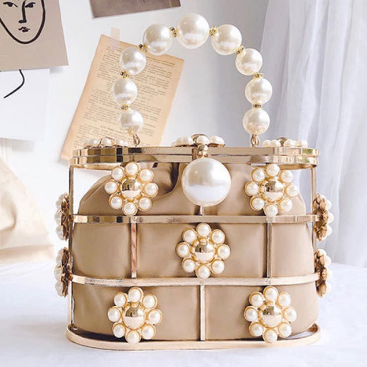お花のパールいっぱいハンドバッグ 韓国ファッション ショルダーバッグ   aimoha    詳細画像1