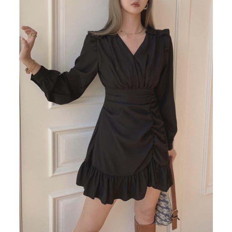 2021新作Vネックフリルミニワンピース 韓国ファッション ハイウエスト | aimoha  | 詳細画像1