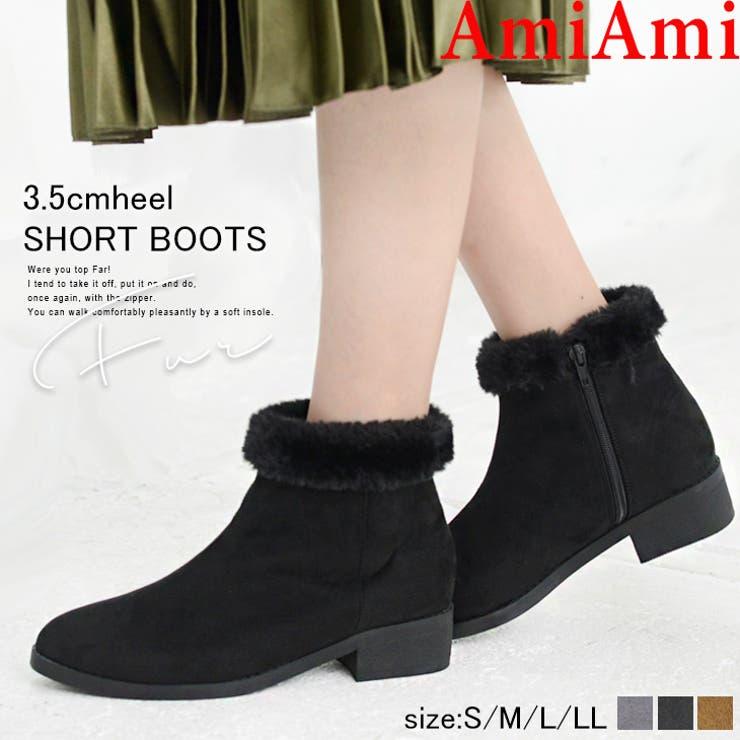 履き口ファーショートブーツ 3 5センチヒール | AmiAmi | 詳細画像1