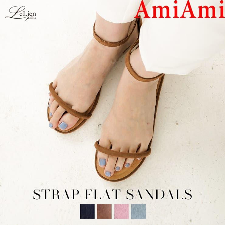 ストラップフラットサンダル 1センチヒール レディース | AmiAmi | 詳細画像1