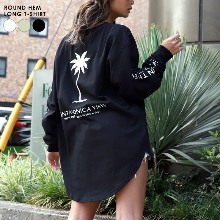 パームツリー刺繍ラウンドヘムロングTシャツ anap mimpi   ANAP   詳細画像1