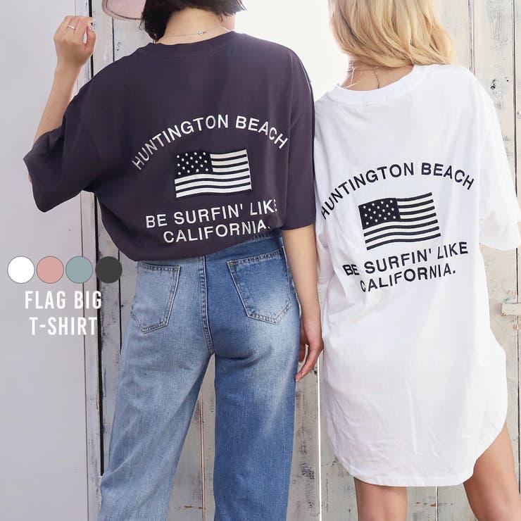 国旗レタリング刺繍ビッグTシャツ anap mimpi | ANAP | 詳細画像1