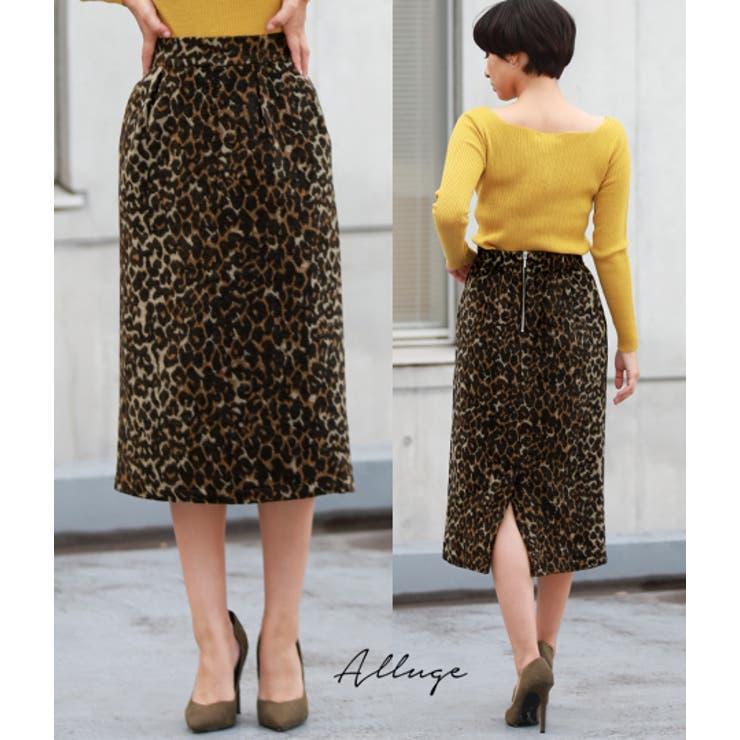 微シャギーヒョウ柄ジャガードタイトスカート | 詳細画像