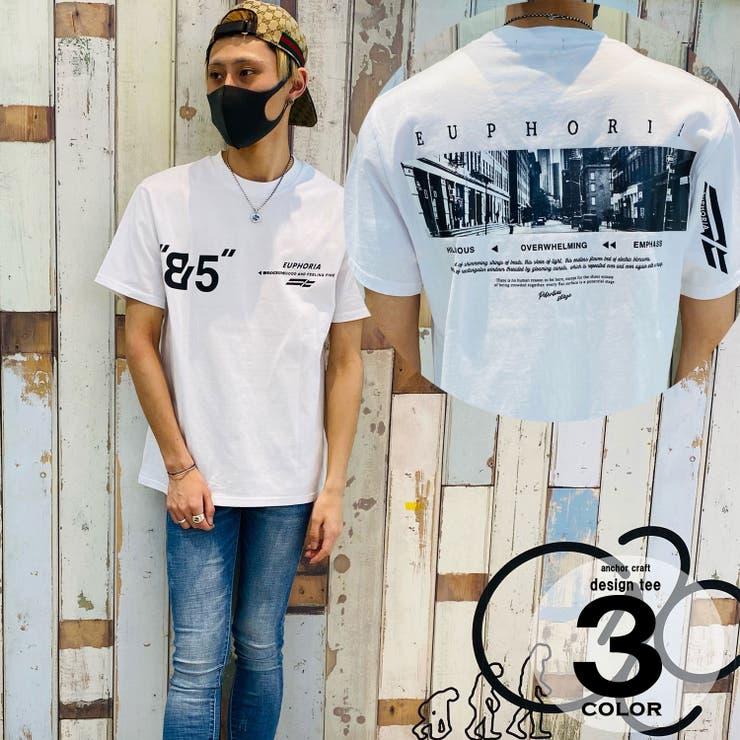 デニムプリント貼り付け半袖Tシャツ | anchor craft  | 詳細画像1