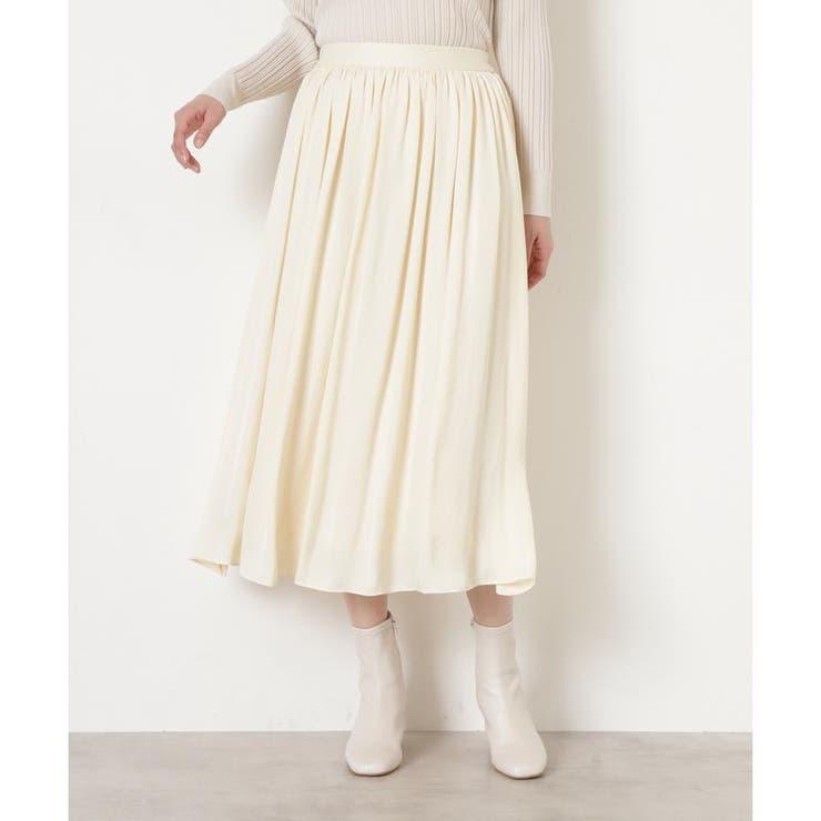 [洗える]ダブルサテンギャザースカート | NATURAL BEAUTY BASIC | 詳細画像1