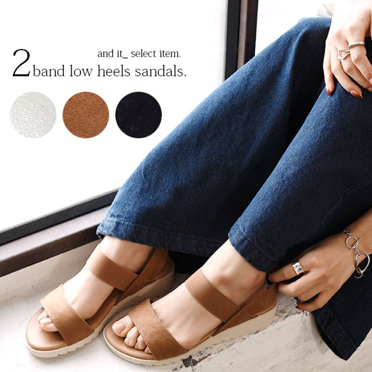 2バンドローヒールサンダルレディース 春夏 靴 | and it  | 詳細画像1