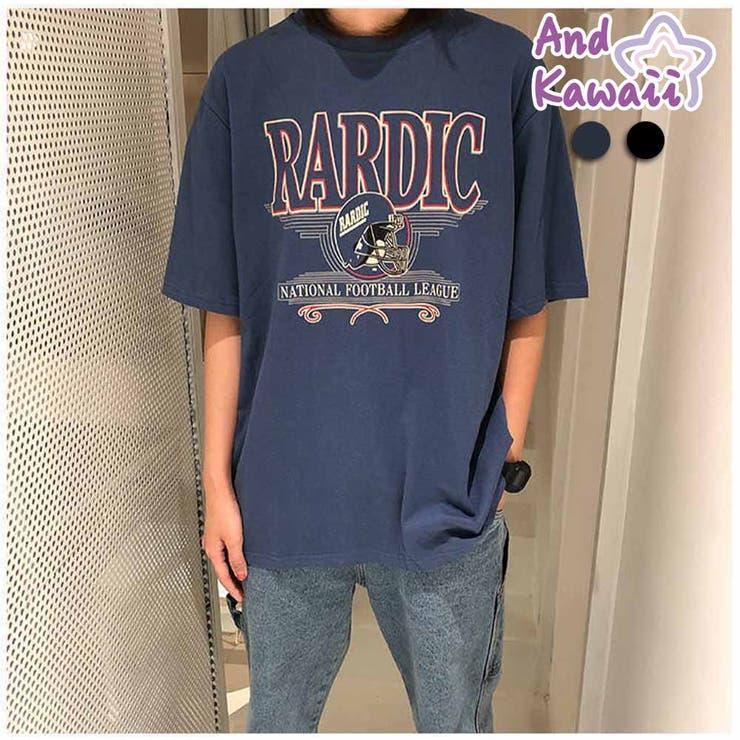 Tシャツ ロゴ入り ゆったり クルーネック 半袖 レディーストップス    And Kawaii   詳細画像1