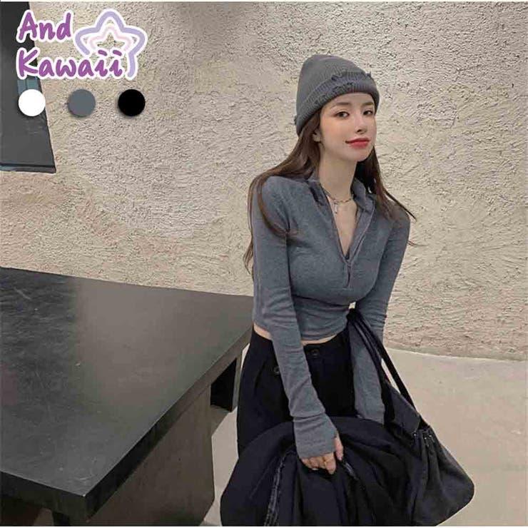 リブニット ショート丈 長袖 無地 Vネック ベーシック 韓国ファッション   And Kawaii   詳細画像1