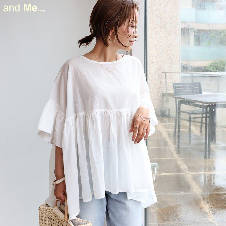 綿ローン オーバーサイズ ギャザーシャツ   and Me   詳細画像1