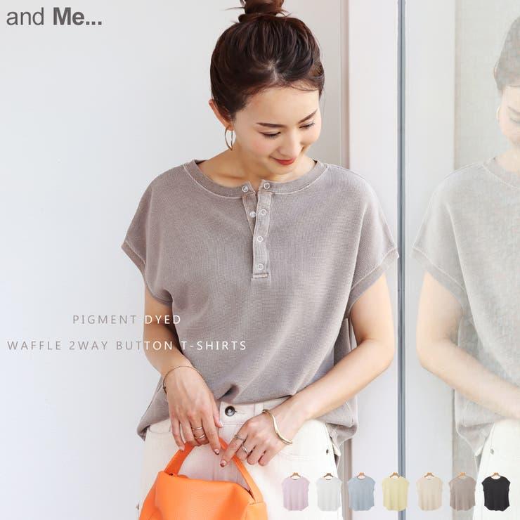 ピグメント加工 コットンワッフル Tシャツ   and Me   詳細画像1