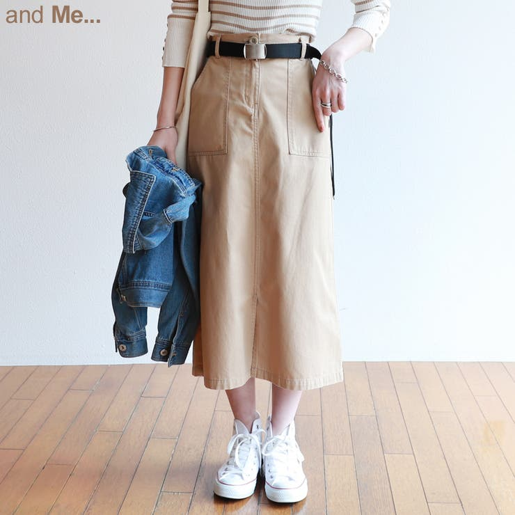 【対応】【A-13】チノツイルベルト付きベイカーロングスカート【NG】 | 詳細画像