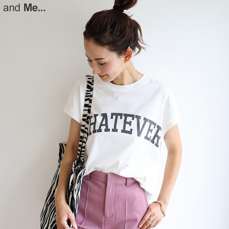 ロゴプリント フレンチスリーブ Tシャツ | and Me | 詳細画像1