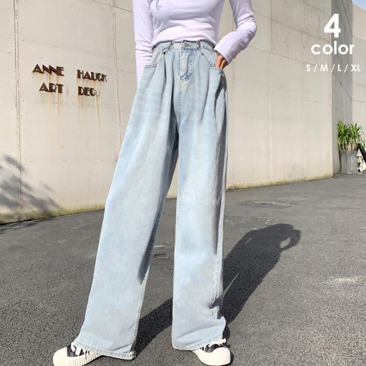ハイウエスト デニム ワイドパンツ韓国 | ANGELCLOSET | 詳細画像1