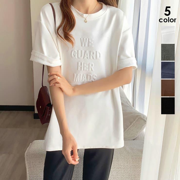 立体ロゴtシャツ 韓国チュニックロンT | ANGELCLOSET | 詳細画像1