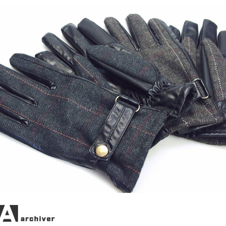 グローブ メンズ 手袋 ツイード PU素材 柔らかめ プレゼント 冬【0216】黒 茶 ブラック ブラウン