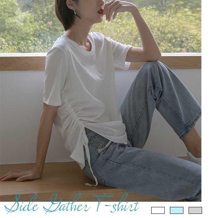 サイドギャザーTシャツ Tシャツ ベーシックT   ARGO TOKYO   詳細画像1