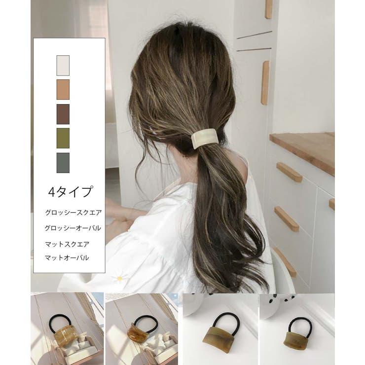 韓国ファッションヘアアクセサリーべっ甲風オーバルヘアゴム | ARGO TOKYO | 詳細画像1
