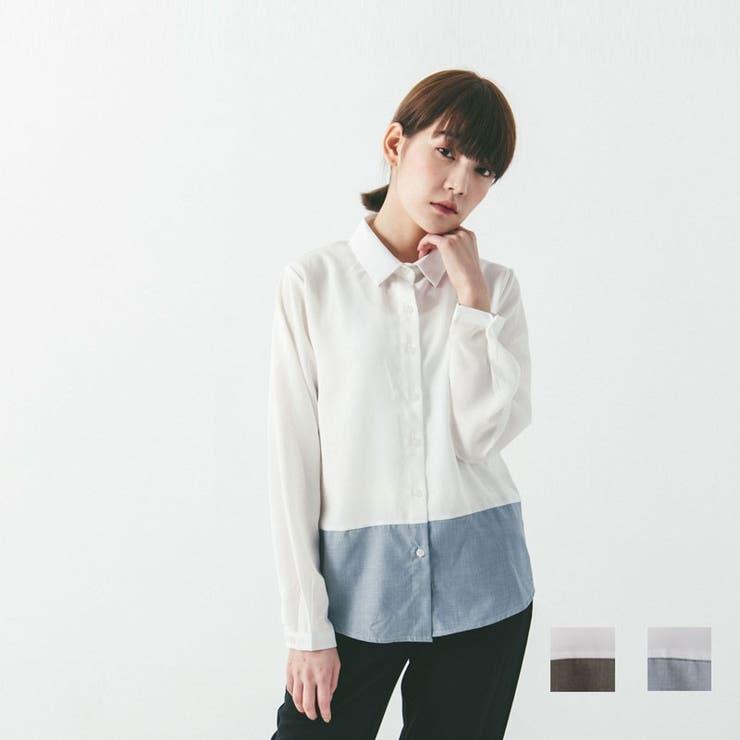 ☆QUEEN SHOP☆秋冬ツートンルームウェアブラウスガーリッシュトップスシャツ