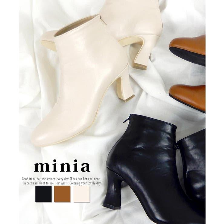 変形フレアヒールショートブーツ ミドルブーツ ブーツ | minia | 詳細画像1