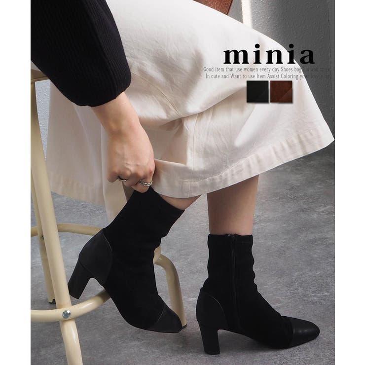 スエードコンビショートブーツ ショートブーツ ミドルブーツ | minia | 詳細画像1