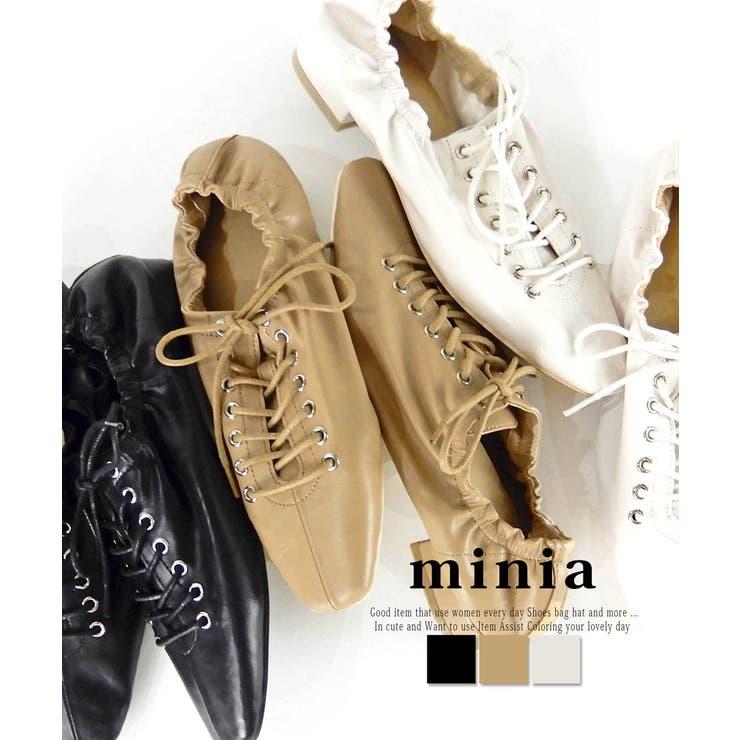 シャーリングレースアップバブーシュ フラットシューズ 紐靴 | minia | 詳細画像1
