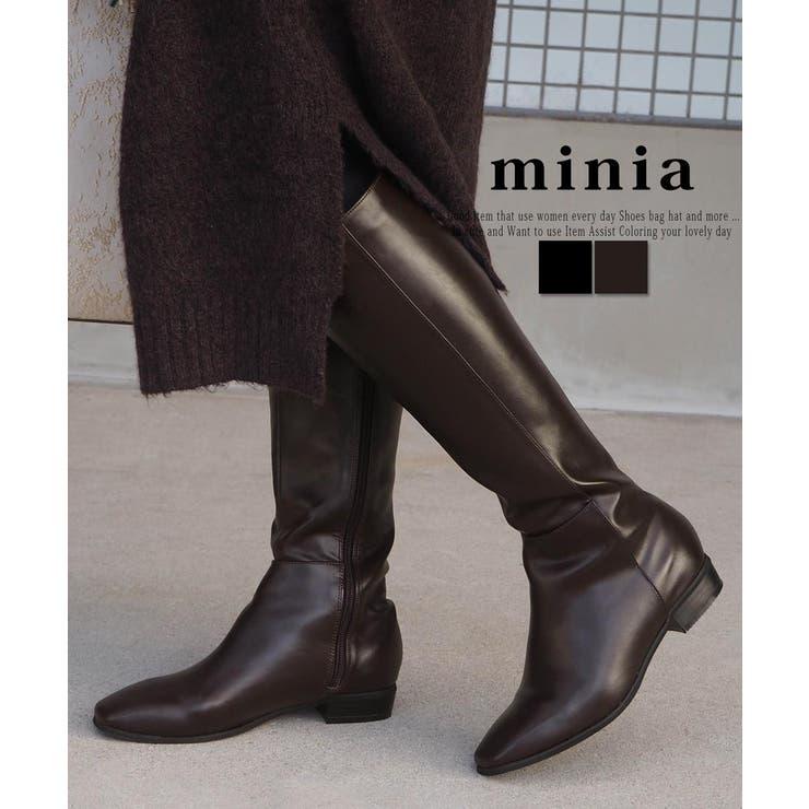 スクエアトゥロングブーツ ジョッキーブーツ きれいめ   minia   詳細画像1