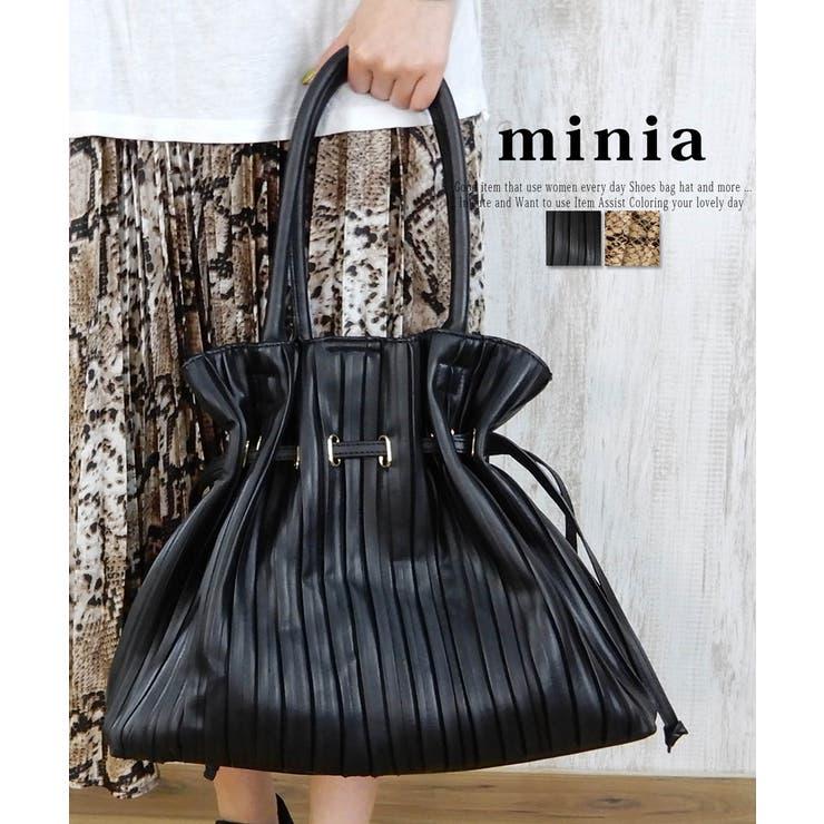 プリーツ巾着の大きめトートバッグ A4対応 でかバッグ | minia | 詳細画像1