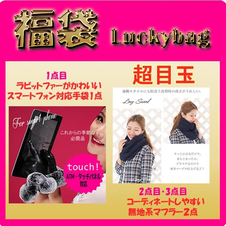福袋 スマートフォン対応手袋×1, マフラー×2 計3点ラッキーバッグ