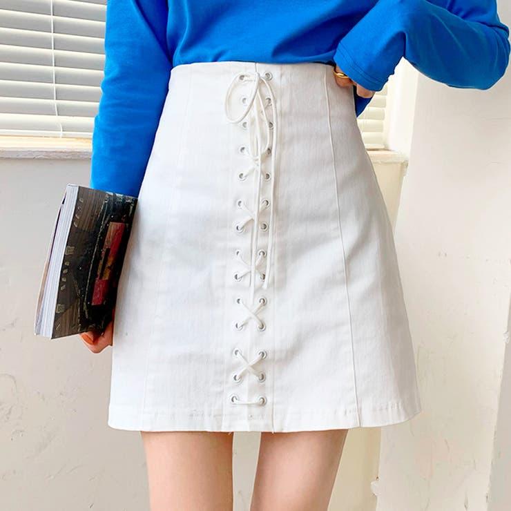 フロントレースアップスカート ミニスカート 韓国ファッション | riri | 詳細画像1