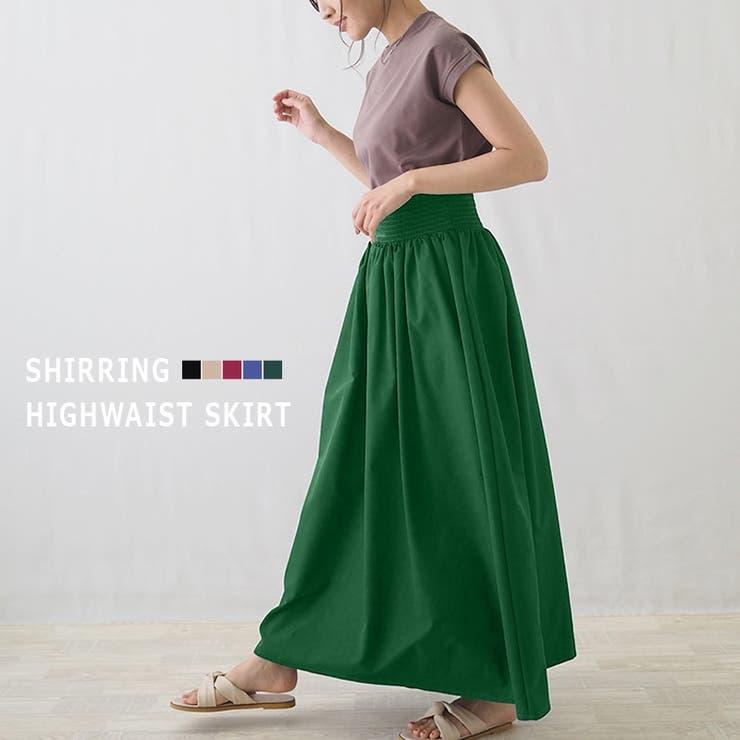 シャーリングハイウエストAラインスカート フレアスカート サロペットスカート   riri   詳細画像1
