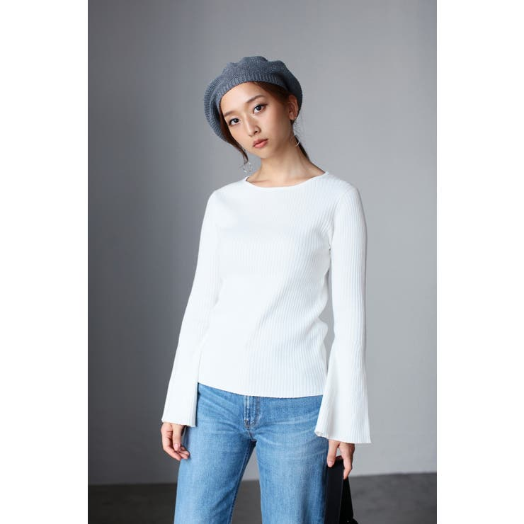 【AZUL by moussy】リブニットフレアスリーブ長袖プルオーバー AZUL by moussy/アズール バイマウジー/レディース/ニット ニット