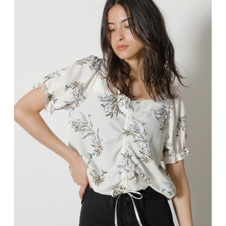 FRONT GATHER FLOWER BLOUSE | AZUL BY MOUSSY | 詳細画像1