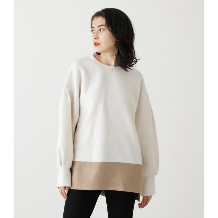 VOLUME SLEEVE COLOR BLOCK TOPS | AZUL BY MOUSSY | 詳細画像1