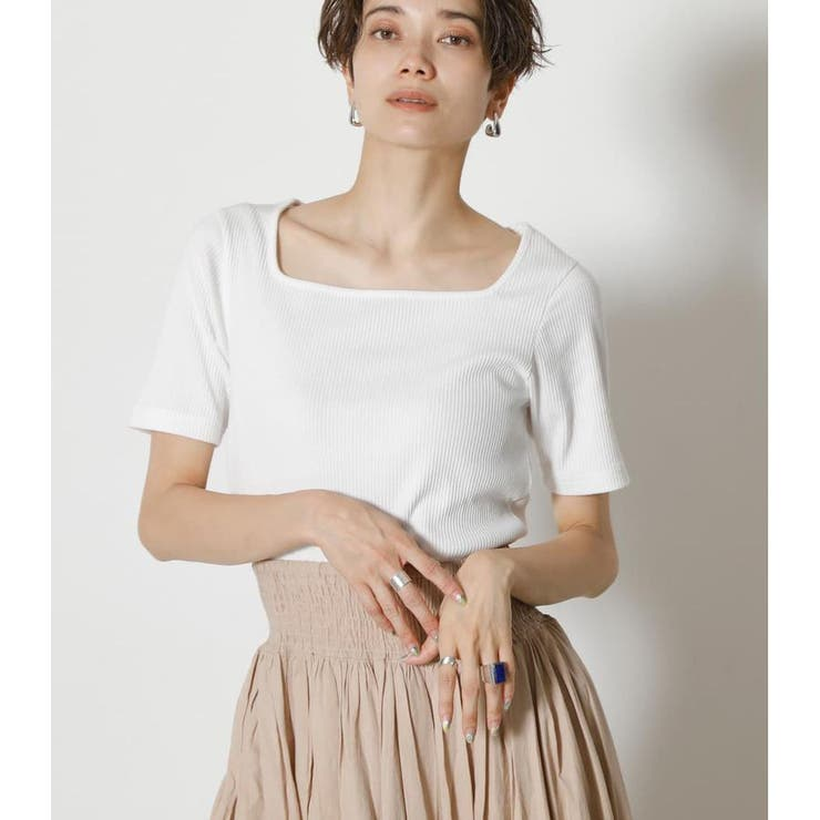 SQUARE NECK RIB TOPS | AZUL BY MOUSSY | 詳細画像1