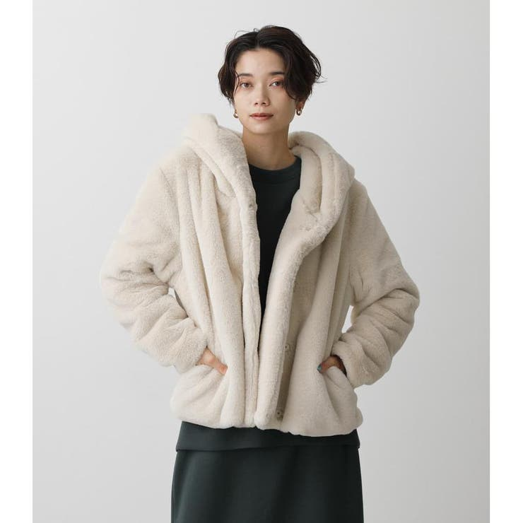 FLUFFY HOODIE SHORT COAT | AZUL BY MOUSSY | 詳細画像1