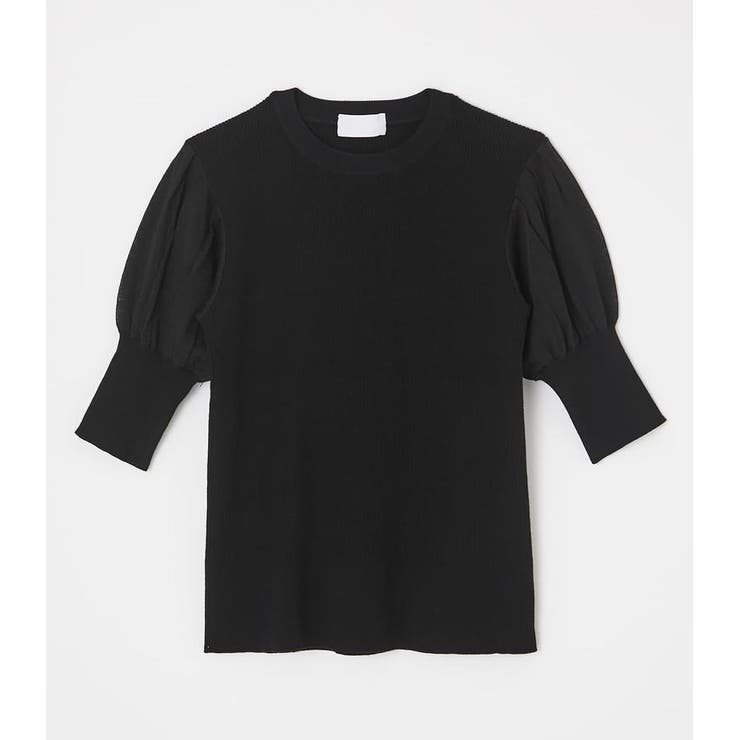 SHEER SLEEVE KNIT TOPS | AZUL BY MOUSSY | 詳細画像1