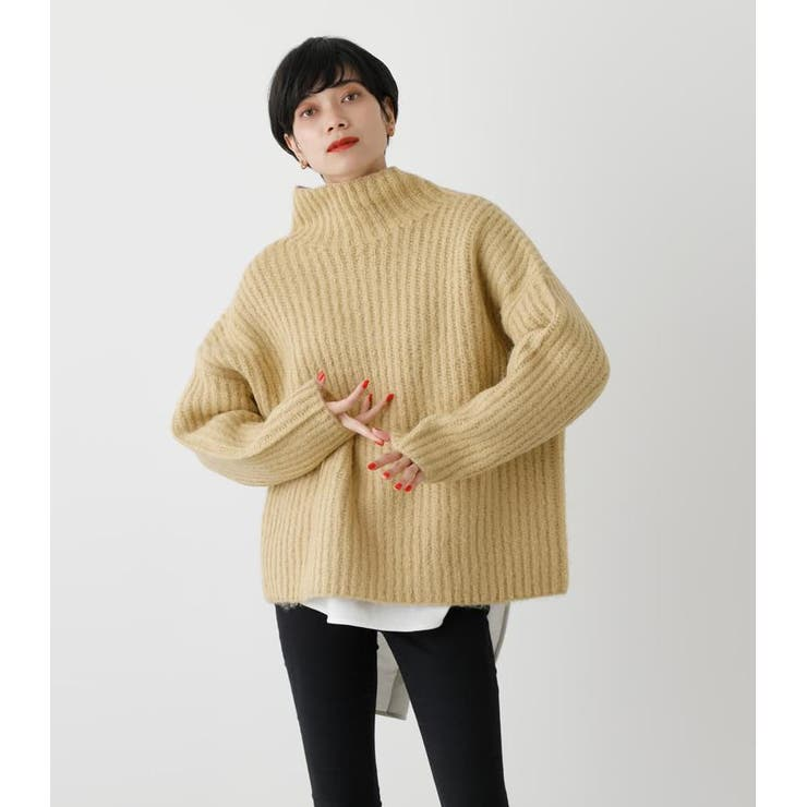 WIDE RIB H/N VOLUME KNIT TOPS   AZUL BY MOUSSY   詳細画像1